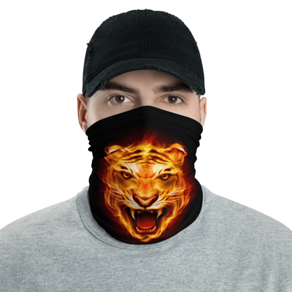 New Tiger Head Made Of Fire Flames Face Mask, Bandanna, Scarf, Neck Gaiter, Headwear, Headband Hair Cover, Mouth Cover, Nose Cover, Scarves