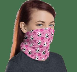 Protective Hearts and Skulls Face Mask, Neck Gaiter, Headwear , Scarf, Bandana