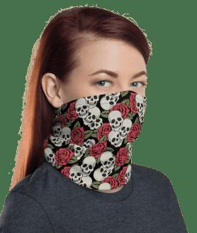 Protective Pink Floral Skulls Face Mask, Neck Gaiter, Headwear , Scarf, Bandana