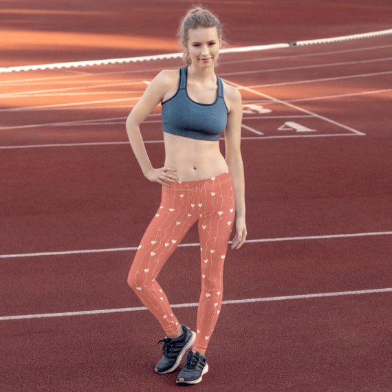 Queen of Hearts leggings - Forever Young Look Sporty Athletic Pink Leggings