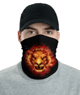 Washable & Reusable Fire Lion Head Protective Face Mask, Bandanna, Scarf, Neck Gaiter, Headwear, Headband Hair Cover, Mouth Cover, Nose Cover, Scarves