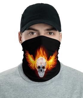 Washable & Reusable Flaming Skull Face Mask, Bandanna, Scarf, Neck Gaiter, Headwear, Headband Hair Cover, Mouth Cover, Nose Cover, Scarves