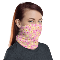 Washable & Reusable Pink Flowers Protective Face Mask, Bandanna, Scarf, Neck Gaiter, Headwear, Headband Hair Cover, Mouth Cover, Nose Cover, Scarves