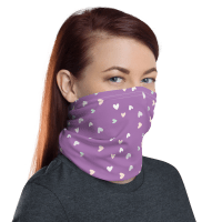 Washable & Reusable Purple Hearts Protective Face Mask, Bandanna, Scarf, Neck Gaiter, Headwear, Headband Hair Cover, Mouth Cover, Nose Cover, Scarves