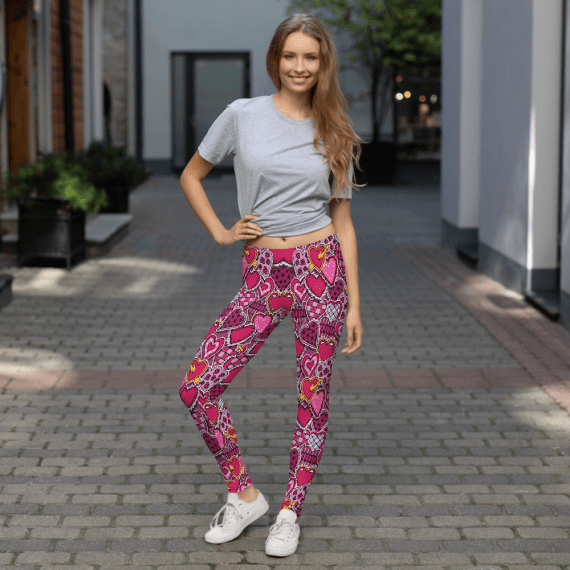 Women's Ultra Soft Hearts Printed Leggings - New Classic Fashion Print Leggings