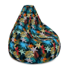 Colorful Flowers Bean Bag Chair Sofa, Plush Relaxing Indoor Floral Couch Lounger