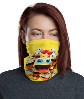 New Yellow Funny Smileys Emoji Faces Face Mask, Best Washable Face, Mouth Cover, Neck Gaiter