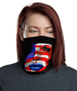 USA Patriots Face Mask Shield Gaiter U.S. FLAG Washable Reusable American Power Girl Mask, Neck Gaiter
