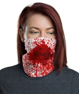 Funny Halloween Bloody Mask | Gun Shot With Blood Splatter Face Mask | 2020 Bloody Face Mask | Neck Gaiter