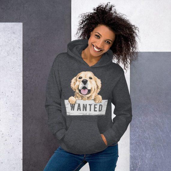 Wanted Dog Hoodie – Cute Funny Dog Unisex Hooded Pullover Sweatshirt