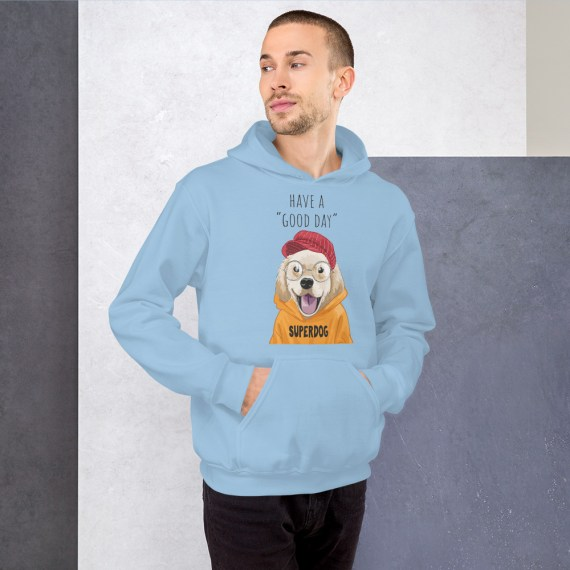 Funny Dog Hoodie, Unisex Have A Good Day Hipster Dog Hooded Pullover Sweatshirt