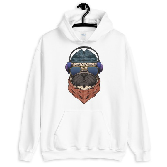 Coolest Dog Ever Hoodie, Unisex Funny Pug Dog Hooded Pullover Sweatshirt