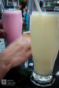 Suco de melão e de morango na Skina dos Sucos