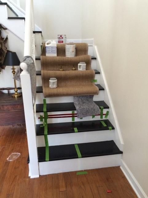 Diy Ikea Jute Rug Stair Runner What Emily Does | Home Depot Stair Runners | Diy | Boards | Half Landing | Outdoor | Tread