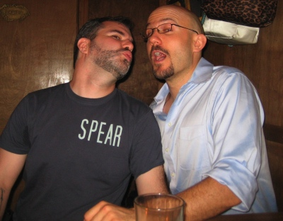 Peter V. Brett (l) and Blake Charlton (r), secure in their masculinity