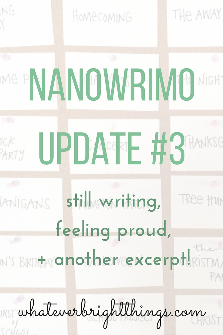 Two weeks in, and I'm still writing. Word by word, I'm getting there. Click through to see how I'm doing and to read another excerpt!