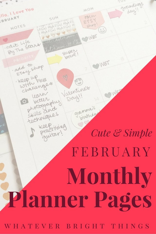 Decorating a Monthly Spread is a great way to plan ahead and see the big-picture events. Click through to see how I decorate February's Monthly Planner Pages!