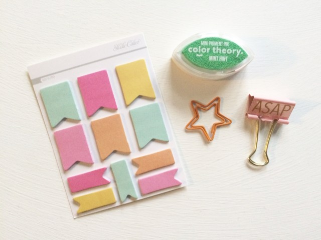 "How cute are these sticky notes? January's kit also came with a Star Paperclip, ""ASAP"" Binder Clip, and a Mini Ink Pad (and you got to choose the color!)"