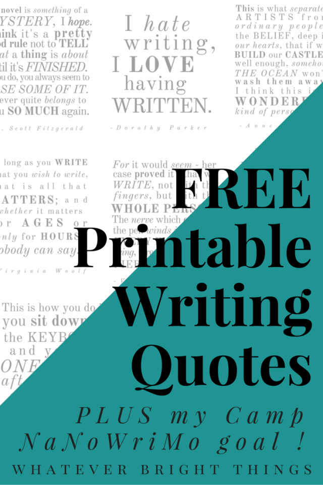 Need some Camp NaNoWriMo Writing Inspiration! Check out this collection of nine free, printable writing quotes!