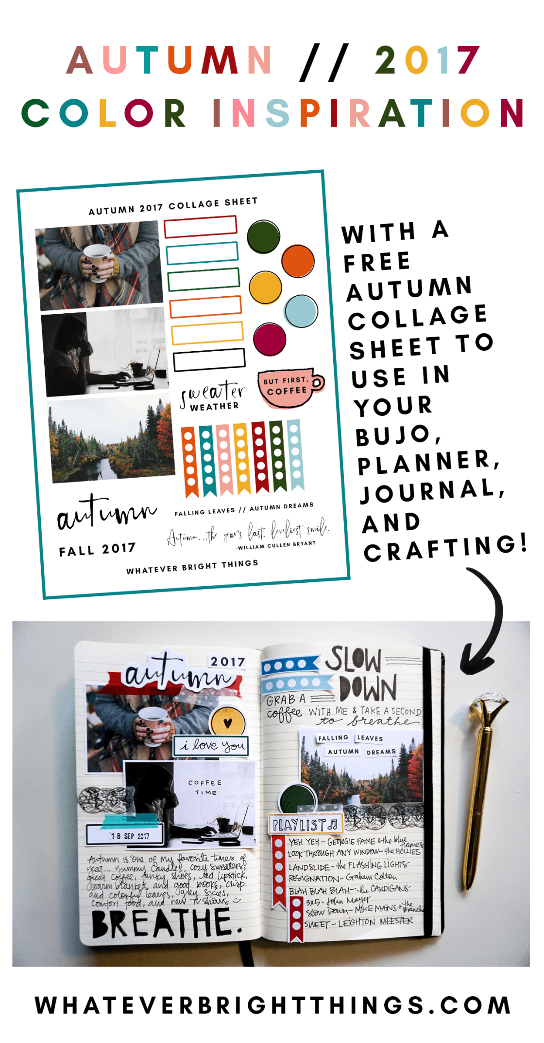 Ready for some major Autumn 2017 Color Inspiration? In this post, I share a fun Fall color palette and a FREE Autumn 2017 Collage Sheet. Use it to decorate your bullet journal, planner, notebook, or journal with fall quotes and hues.