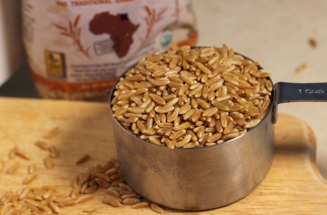 Kamut grains are shaped like brown rice, but larger.