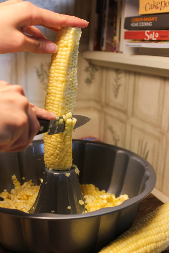 "Here's one kitchen ""hack"" that really works--use a Bundt pan to catch corn kernels as you slice down each ear!"
