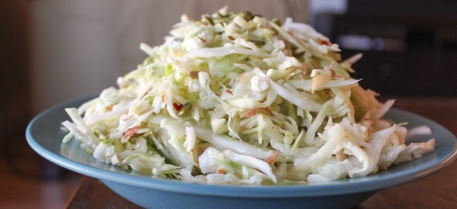 This slaw makes use of fall favorites like cabbage, apples and pumpkin seeds.