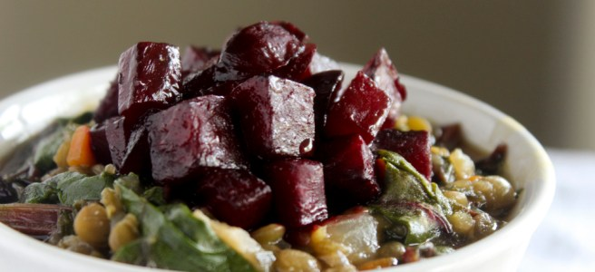 roasted beets with lentils