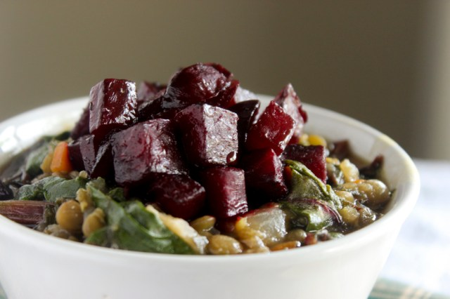 Braised Lentils with Beets and Greens