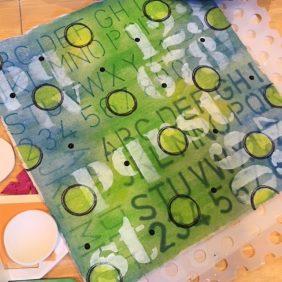 Green Mixed Media Fabric