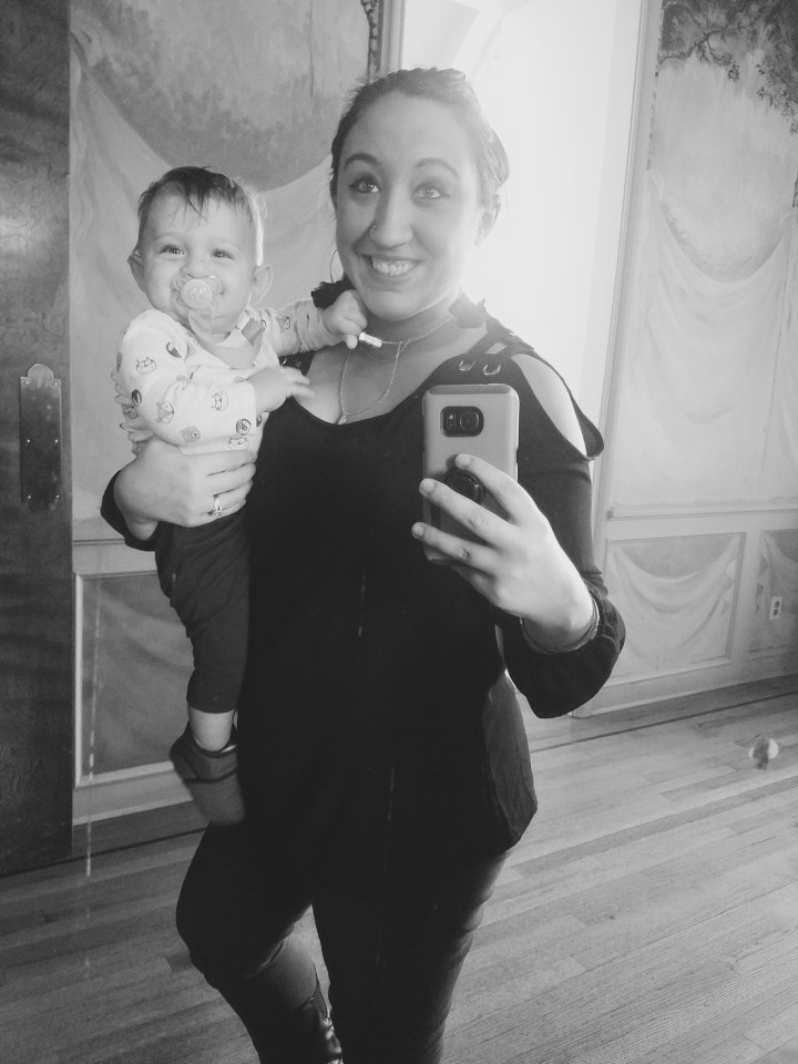 Selfie with baby in mirror at Oheka Castle on Long Island