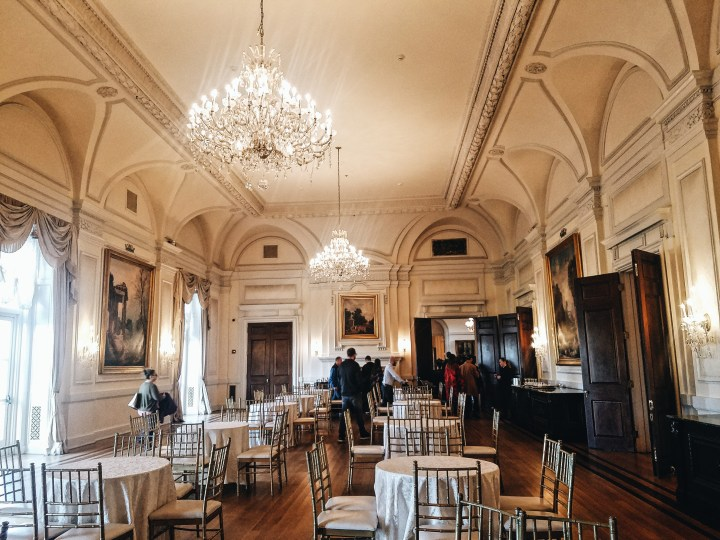 Dining room as tour explores at Oheka Castle on Long Island