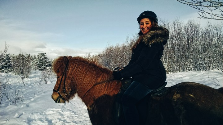 A woman riding an Icelandic horse in Iceland