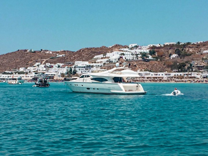 A view of a yacht hailing from UAE that the couple on board took as they were drunk and sailing around Mykonos.