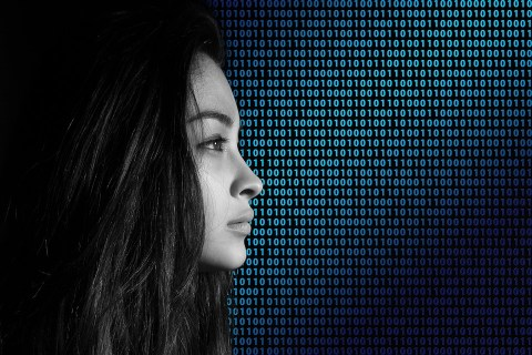 Code View Face Binary Privacy Policy Woman
