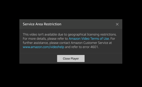 Amazon Prime Video Geo-Error