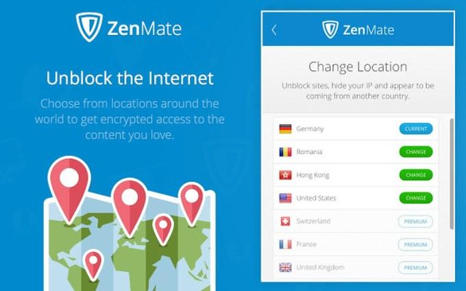 Locations of ZenMate VPN Server