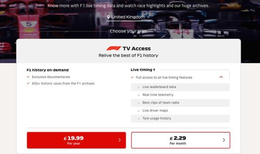 F1 TV United Kingdom