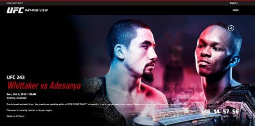 UFC 243 in the UK