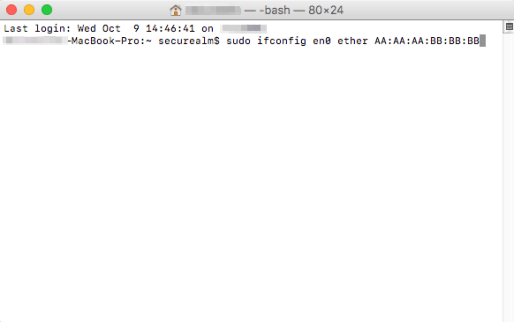 Terminal MAC Address