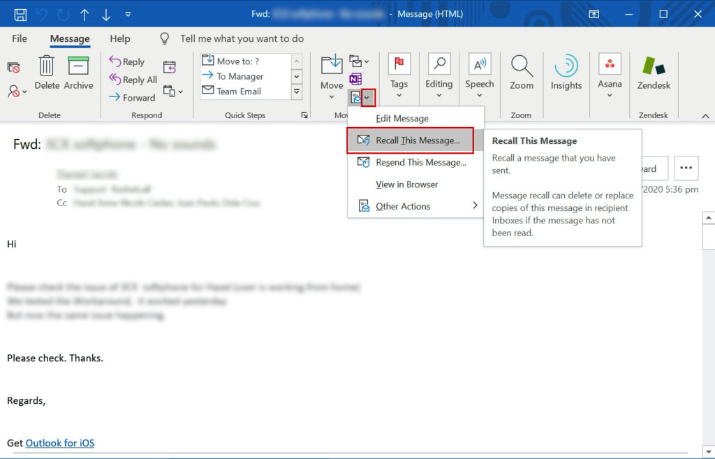 How to Recall Outlook Email Message - WhatisMyLocalIP