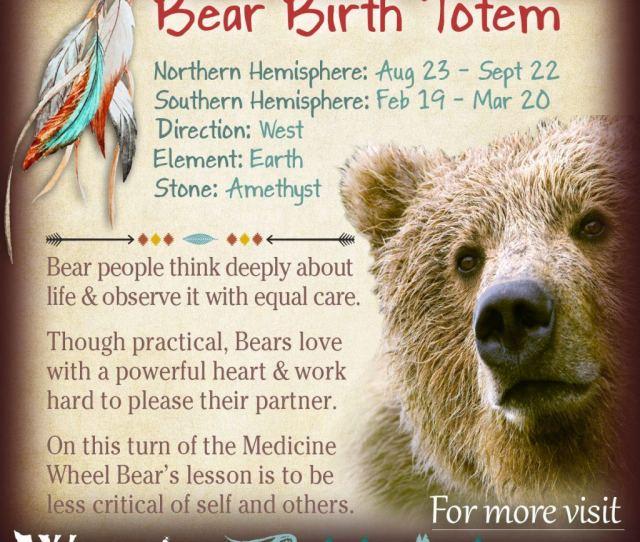 Bear Birth Totem Native American Zodiac Astrology Signs X
