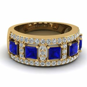 Yellow gold tanzanite wedding rings