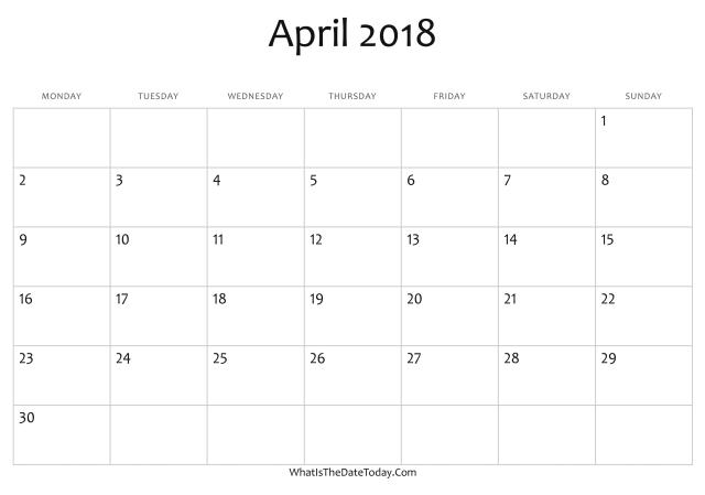 Calendar Lab April : Blank april calendar free download printable