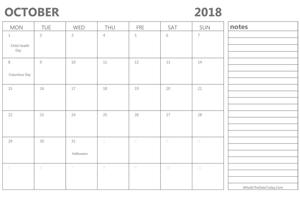 editable october 2018 calendar