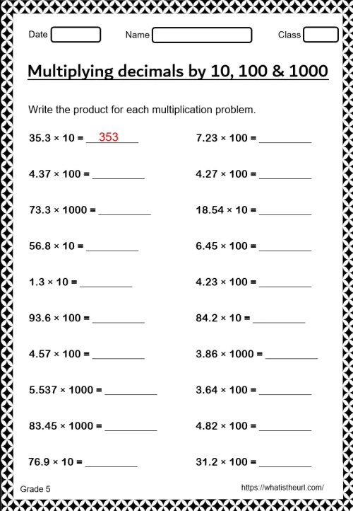 small resolution of Decimal Multiplication Worksheet For grade 5 - Your Home Teacher