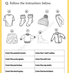 Clothing worksheet - Coloring \u0026 Match - Your Home Teacher [ 1056 x 816 Pixel ]