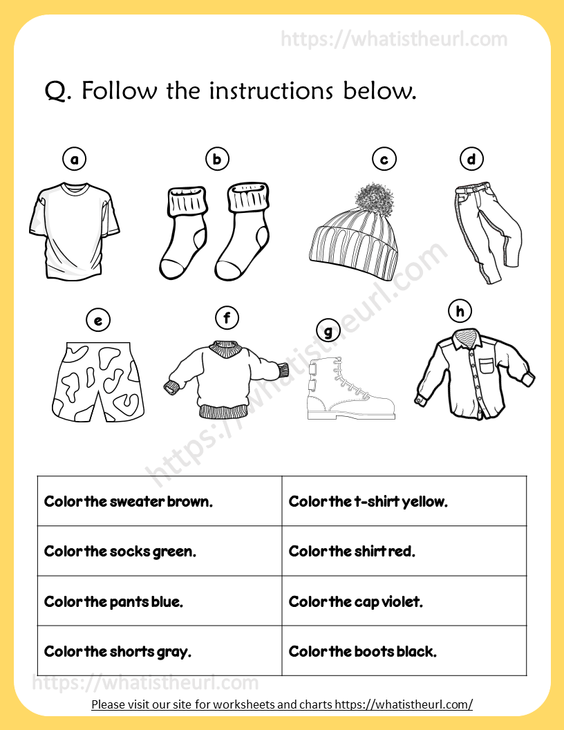 medium resolution of Clothing worksheet - Coloring \u0026 Match - Your Home Teacher