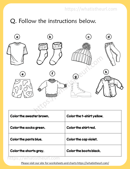 small resolution of Clothing worksheet - Coloring \u0026 Match - Your Home Teacher