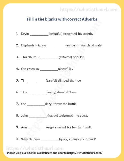 small resolution of Fill in the blanks with correct Adverb - Your Home Teacher